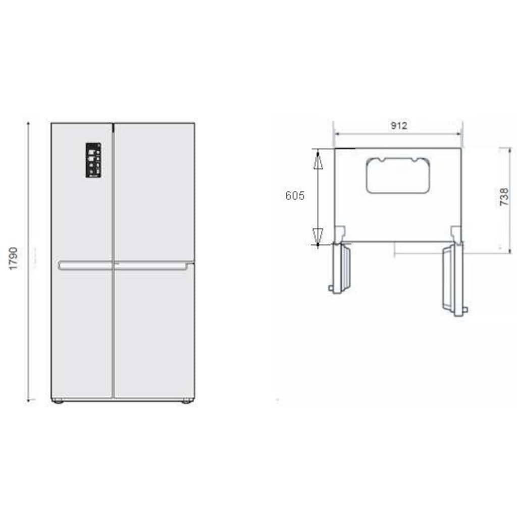 LG Side-by-Side »GSJ961NEAZ«, GSJ961NEAZ, 179 cm hoch, 91,2 cm breit, Door-in-Door