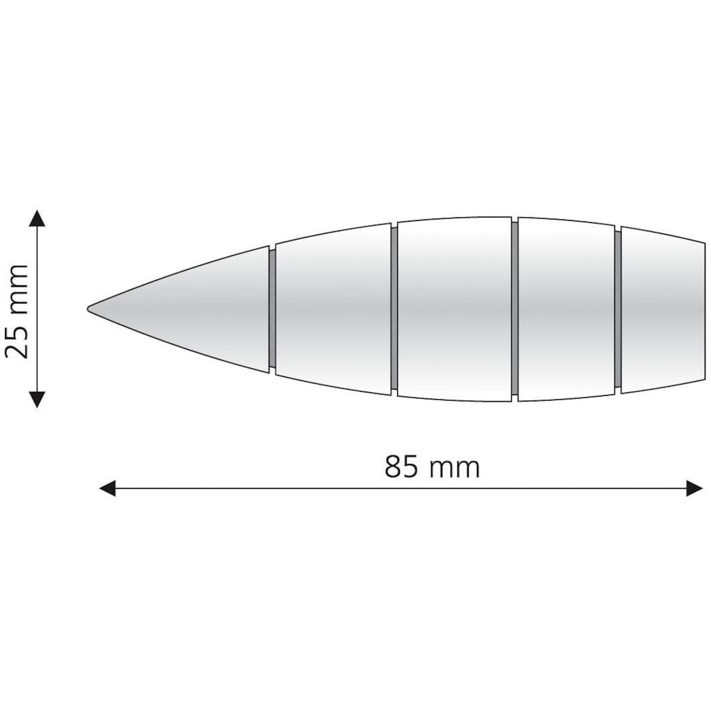 Liedeco Gardinenstangen-Endstück »Bullet mit Rille«, für Gardinenstangen Ø 16 mm