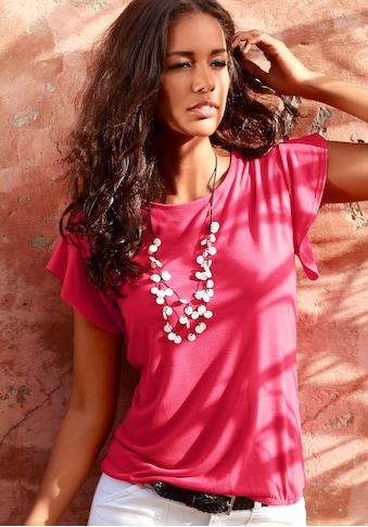 LASCANA T-Shirt, mit kurzen Volantärmelchen kaufen