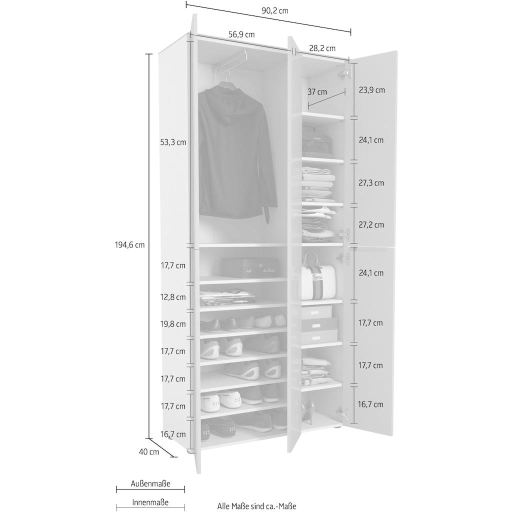 Maja Möbel Garderobenschrank »TREND Garderobenschrank 2572«, Oberplatte Glas, mittlere Tür mit Spiegel, 1 ausziehbare Kleiderstange