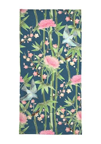 Juniqe Handtuch »Bamboo Birds and Blossom Teal«, (1 St.), Weiche Frottee-Veloursqualität kaufen