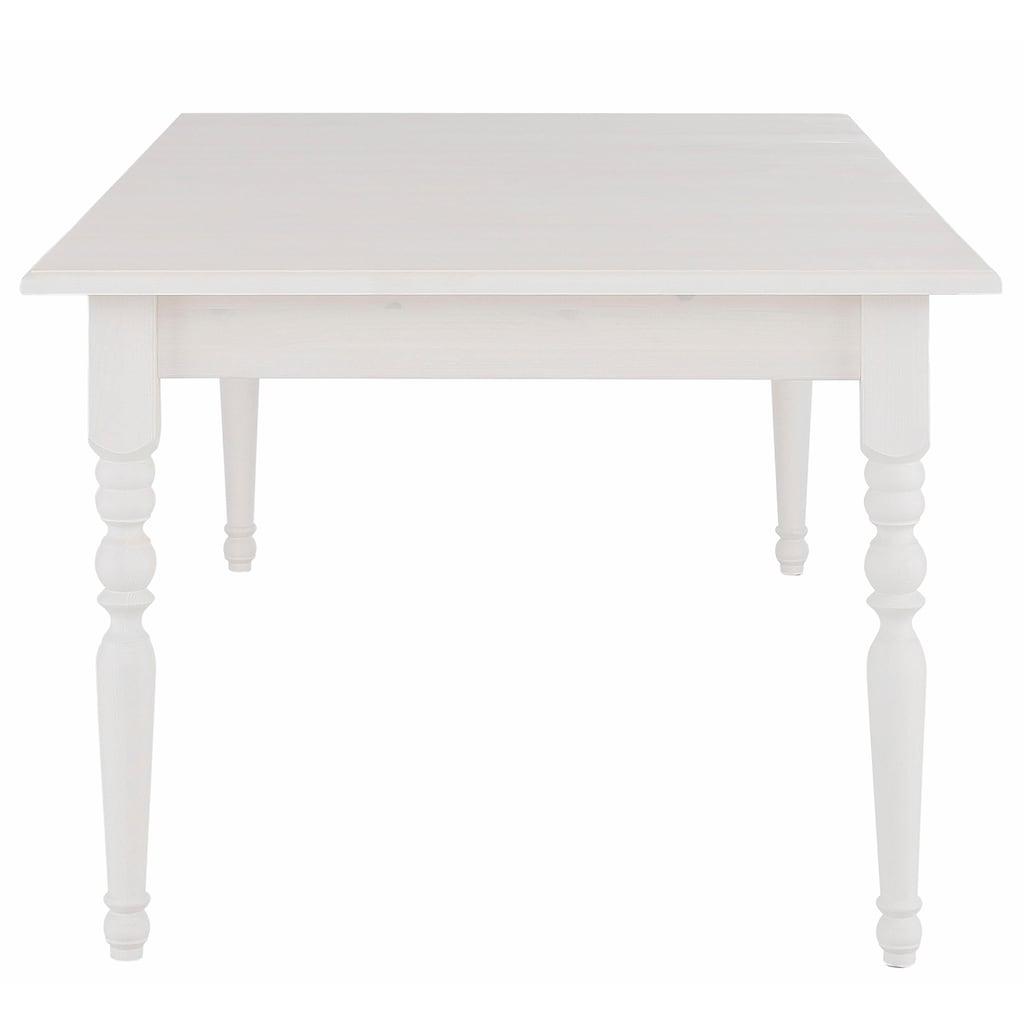 Home affaire Esstisch »Merida«, aus schönem massivem Kiefernholz, in unterschiedlichen Tischbreiten erhältlich, 140 cm-Tisch mit Auszug auf 179 cm