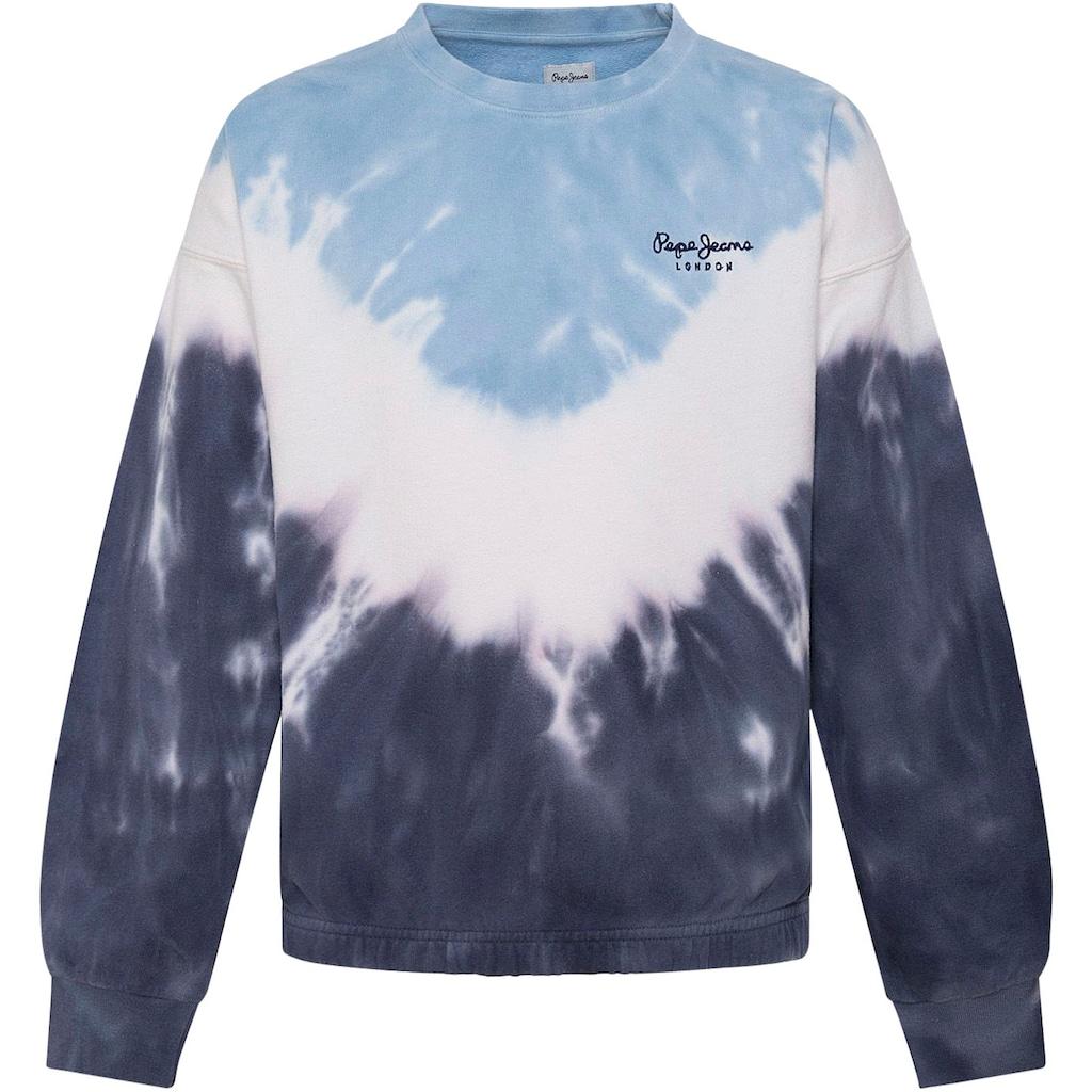 Pepe Jeans Sweater »TRACYS«, in angesagter Batik-Optik mit kleinem Marken-Logo-Druck