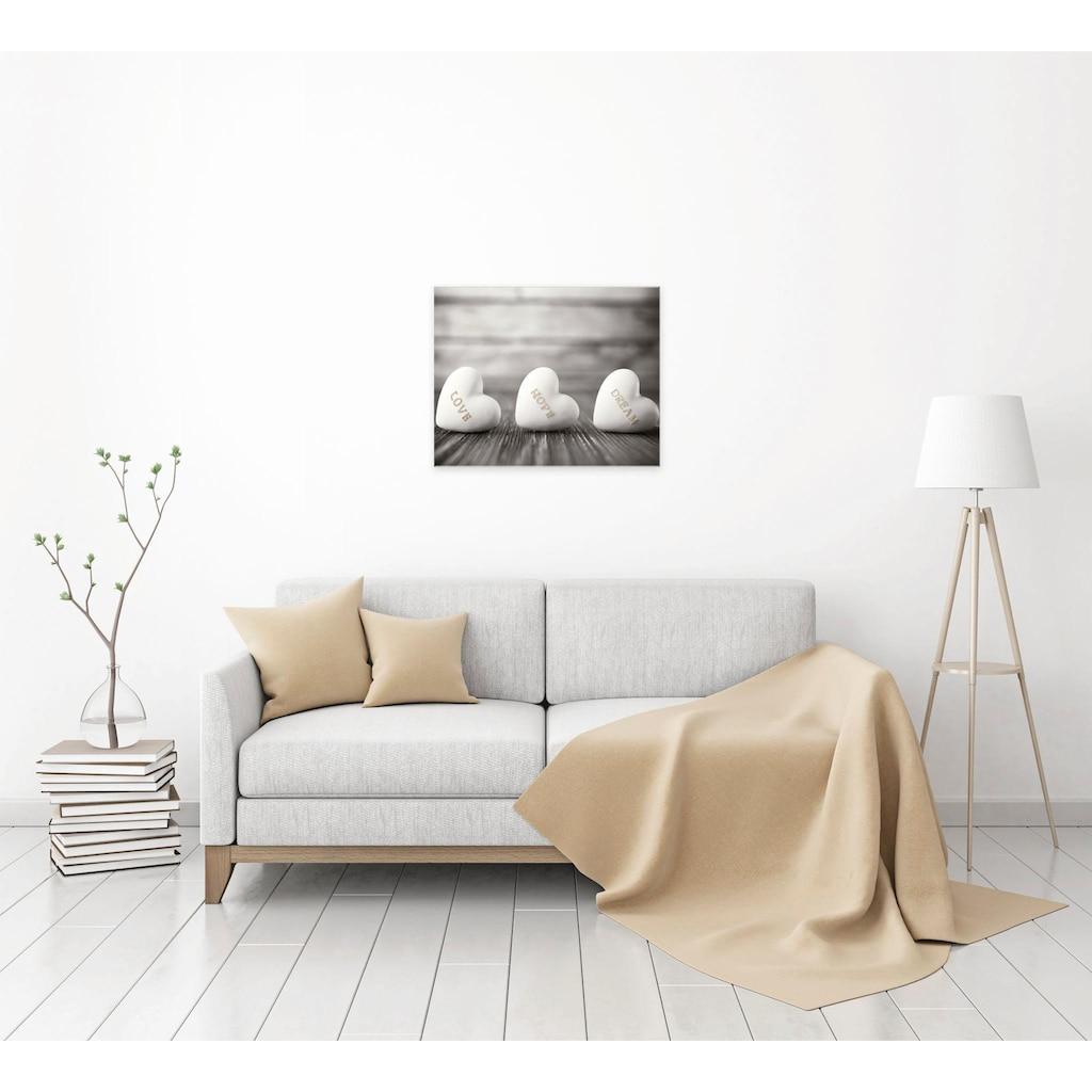 Home affaire Leinwandbild »3 Hearts Sephia«, 50/40 cm