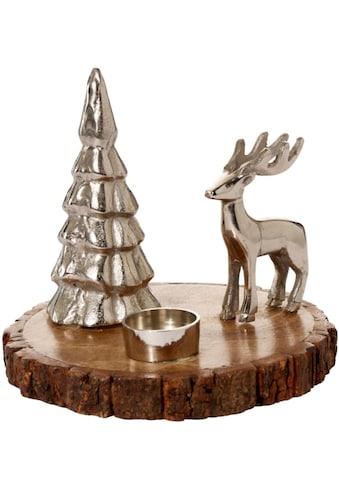 Teelichthalter »Kleine Winterlandschaft«, aus Aluminium und Holz kaufen