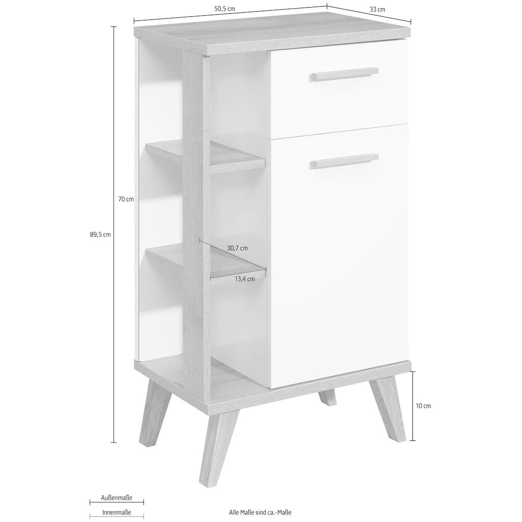 PELIPAL Unterschrank »Quickset 923«, Breite 50,5 cm, seitliche offenes Regal, Holzgriffe, Türdämpfer, Glaseinlegeboden