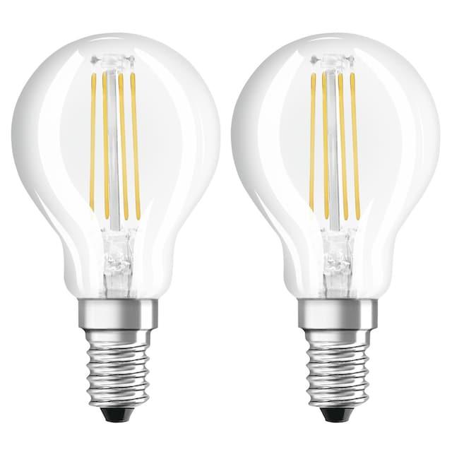 Xavax LED-Filament, E14, 470lm ersetzt 40W, Tropfenform, Warmweiß »LED-Lampe 230V, 2 Stück«