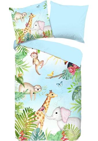 good morning Kinderbettwäsche »Bambini«, mit niedlichen Dschungel-Tieren kaufen