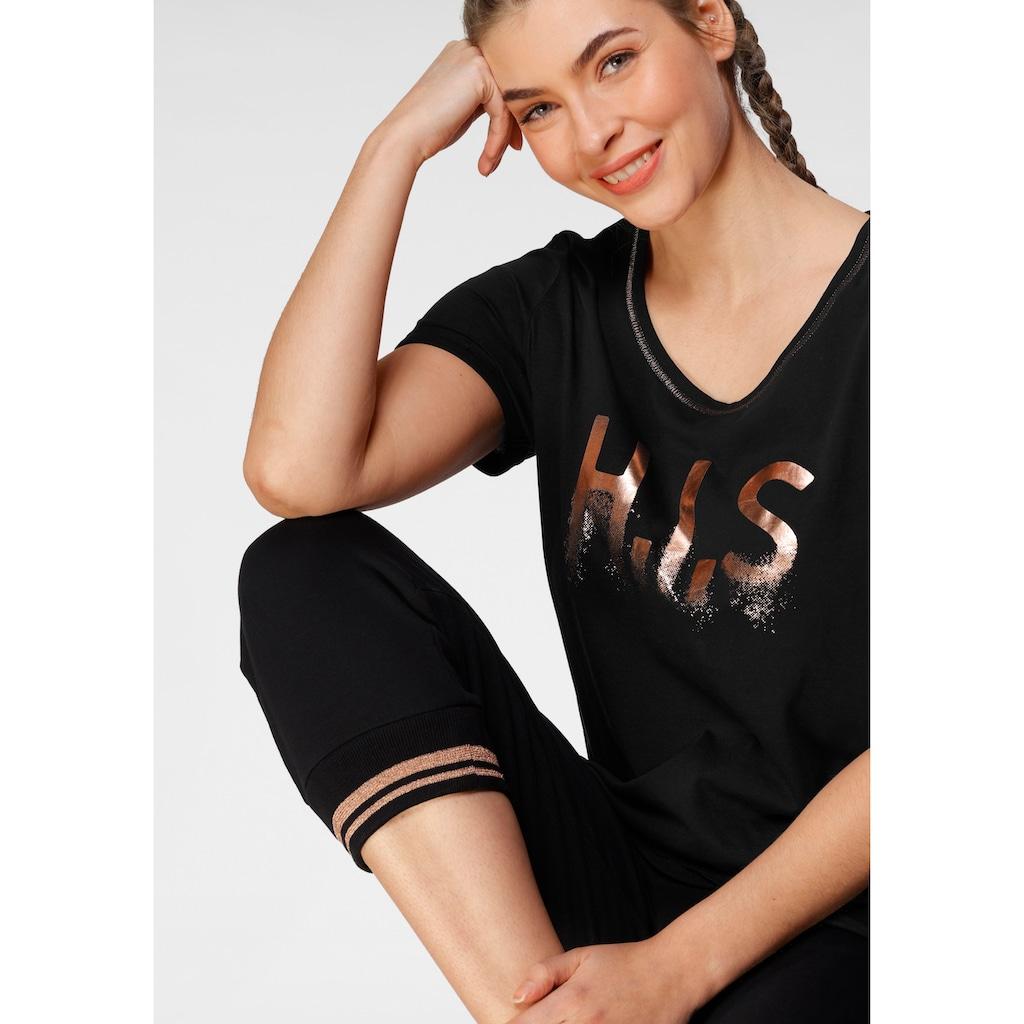 H.I.S T-Shirt »mit glänzenden Druck«, Große Größe