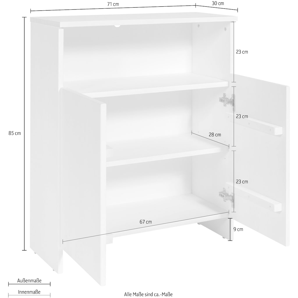 Home affaire Unterschrank »Arta«, aus Kiefer massiv, Breite 71 cm