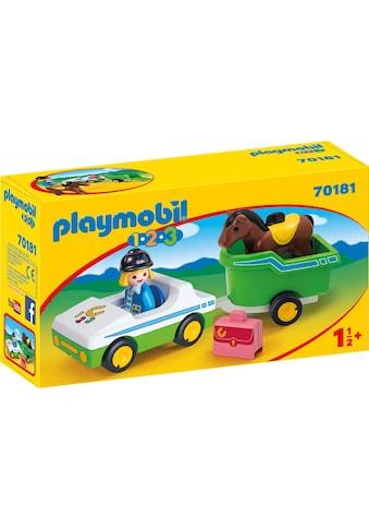 Playmobil® Konstruktions-Spielset »PKW mit Pferdeanhänger (70181), Playmobil 1-2-3«,... kaufen