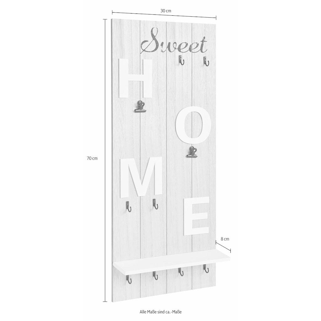 Home affaire Garderobenpaneel »Sweet Home«, Höhe 70 cm