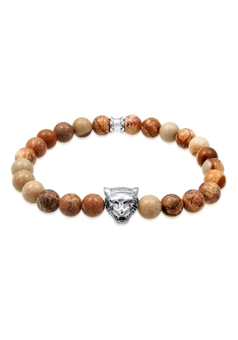 Kuzzoi Armband »Herren Achat Tigerkopf Bead Oxidiert 925 Silber« kaufen