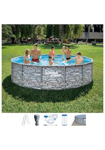 SummerWaves Rundpool »Elite Frame«, (Set, 7 tlg.), ØxH: 427x107 cm kaufen