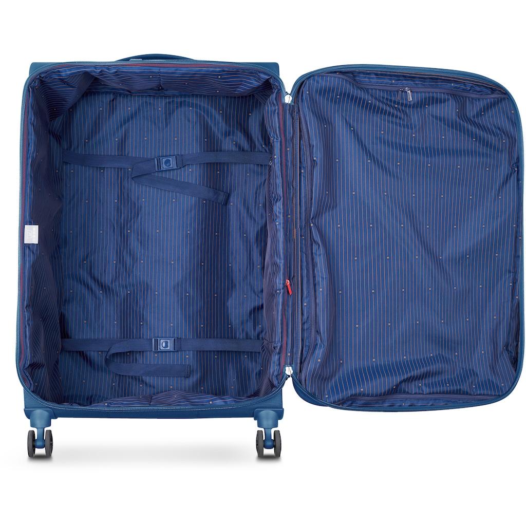 Delsey Weichgepäck-Trolley »Montmartre Air 2.0, 68 cm, blue«, 4 Rollen, mit Volumenerweiterung; aus recycelten Material