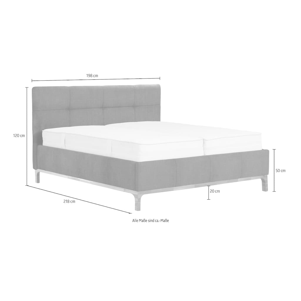 Leonique Polsterbett »Noan«, geräumiger Bettkasten, Lattenrahmen mit Gasdruckfedern, auch mit 7- Zonen-Matratze