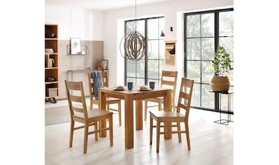 Home affaire Essgruppe »Nils 4«, (Set, 5 St., Tisch 80 x 80, 2 Stühle, Holzsitz), aus... kaufen