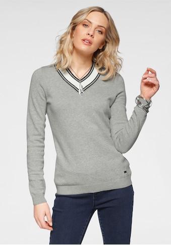 Arizona V-Ausschnitt-Pullover, Mit Kontrast-Besatz kaufen