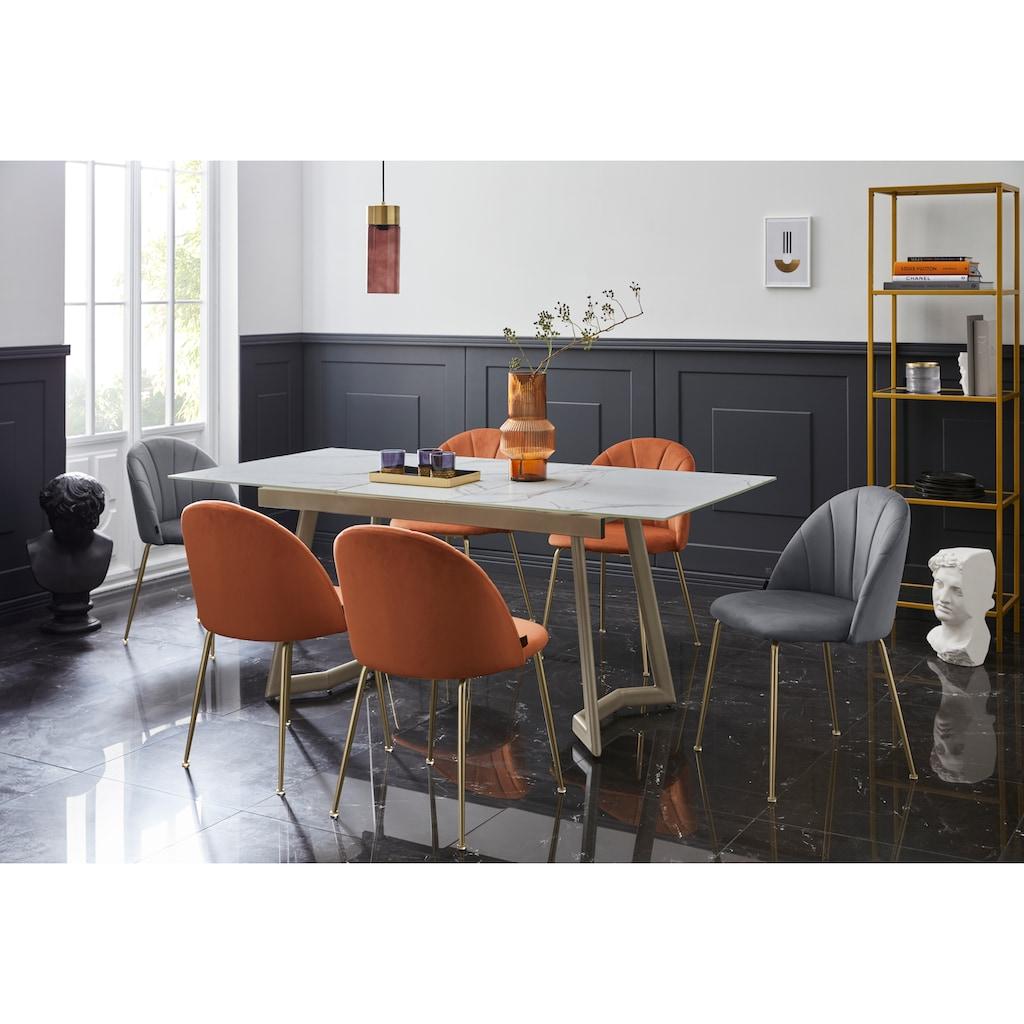 Leonique Esszimmerstuhl »Jarla«, 2er Set, mit einem weichen, pflegeleichten Samtvelours Bezug, Gestell aus Metall, Sitzhöhe 47 cm