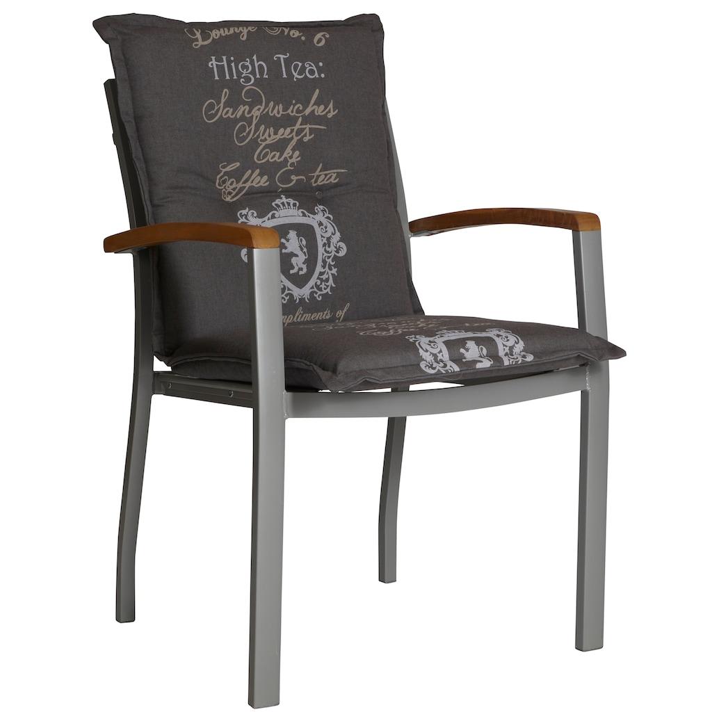 MERXX Gartenstuhl »Monaco«, Aluminium/Textil/Akazie, stapelbar, grau