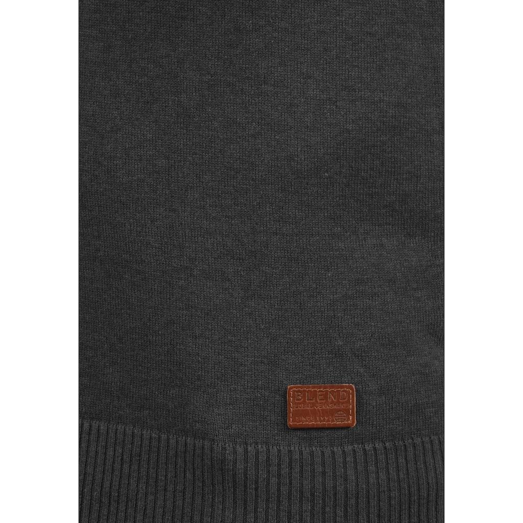 Blend Rundhalspullover »Leonardo«, Strickpulli mit Knopfleiste