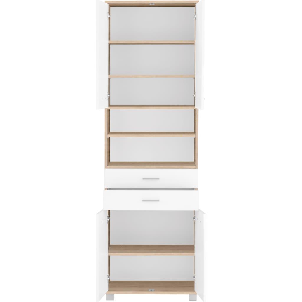 Schildmeyer Hochschrank »Lagona«, Breite 59,8 cm, Schubladen, offene Fächer, Metallgriffe, verstellbare Einlegeböden