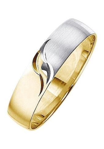 Firetti Trauring mit Gravur »matt, glanz, mit Diamantschnitt, bicolor, 5,0 mm breit«,... kaufen
