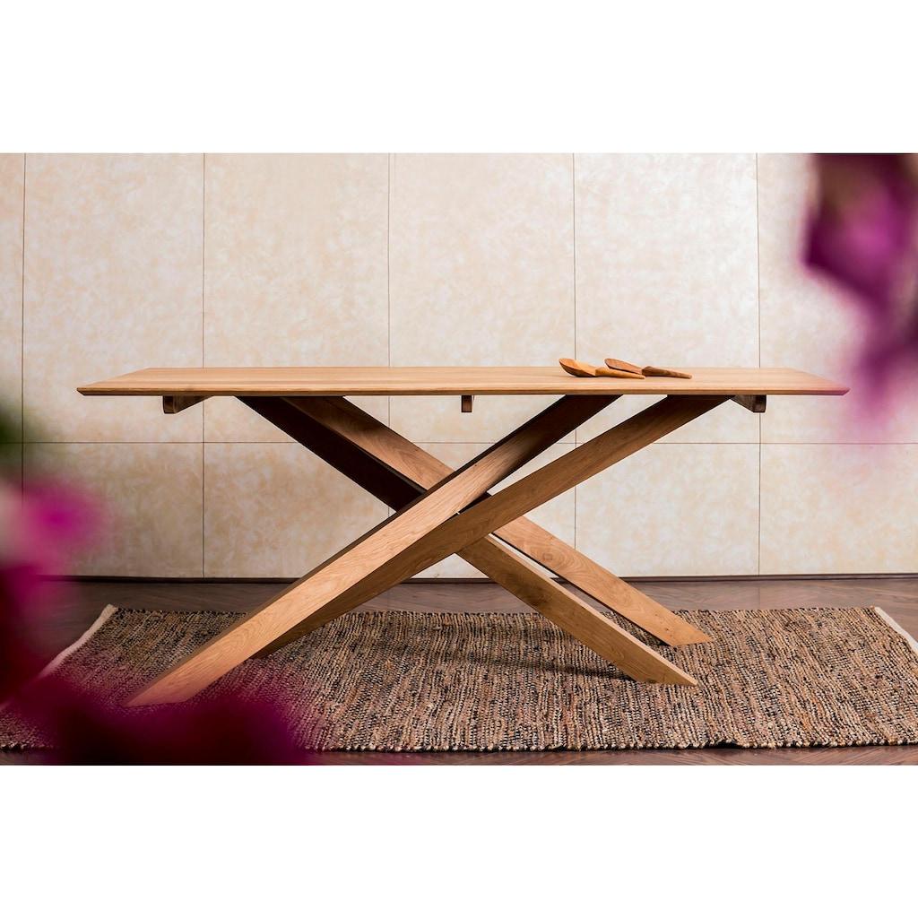 Home affaire Esstisch »Fox«, aus massivem Mangoholz, mit kreativ gestalteten Holzbeinen, Breite 180 cm