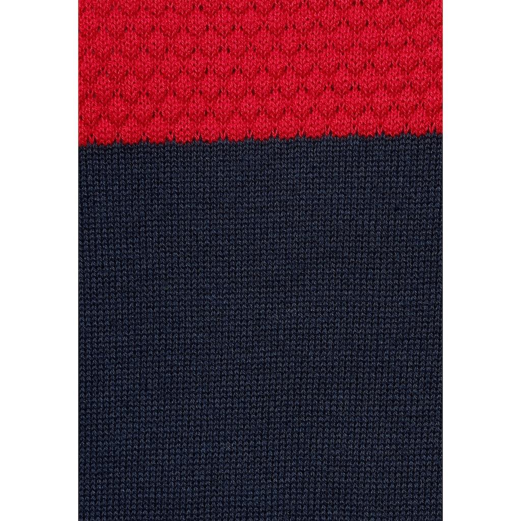 H.I.S Rundhalspullover, Colorblocking, in leichter Strickqualität