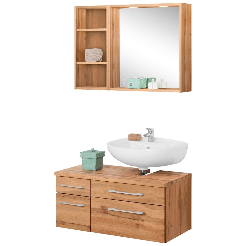 HELD MÖBEL Badmöbel-Set »Davos«, (3 St.), Spiegel inklusive Beleuchtung, Regal und Waschbeckenunterschrank