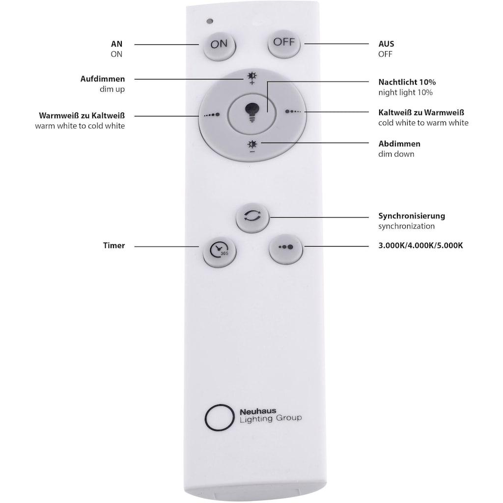 Leuchten Direkt Deckenleuchte »JONAS«, LED-Board, Warmweiß-Neutralweiß-Tageslichtweiß, stufenloses Dimmen über IR-Fernbedienung, Sternenhimmeloptik, Memoryfunktion, Ø 59 cm