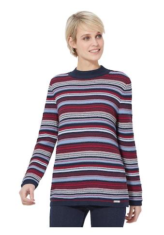 Pullover im farbenfrohen Streifen -  und Strickmusterdessin kaufen