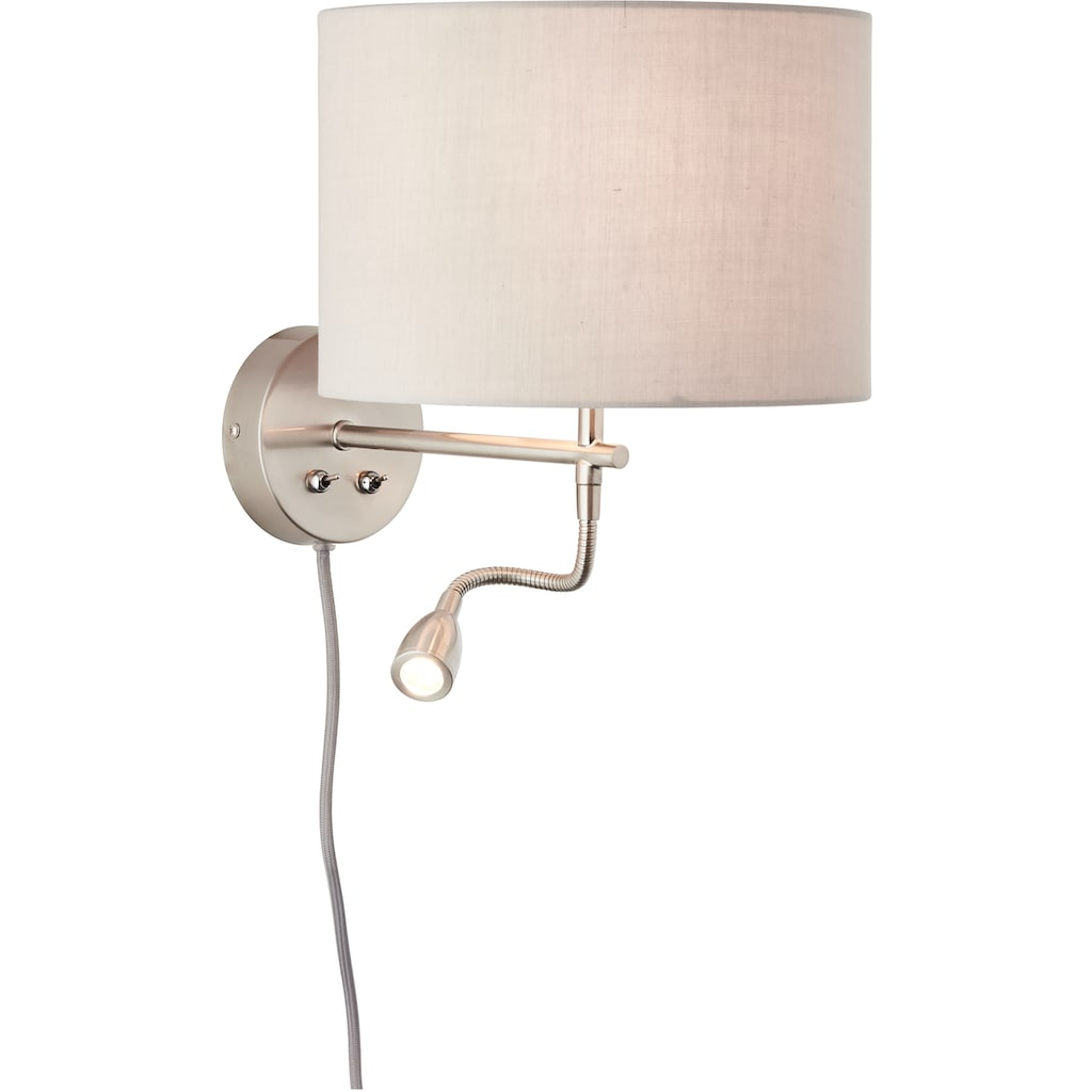 Lüttenhütt LED Wandleuchte »Lüchte«, E27, Wandlampe mit Stoffschirm greige Ø 26 cm und flexiblem Lesearm, Leselicht und Hauptlicht getrennt schaltbar