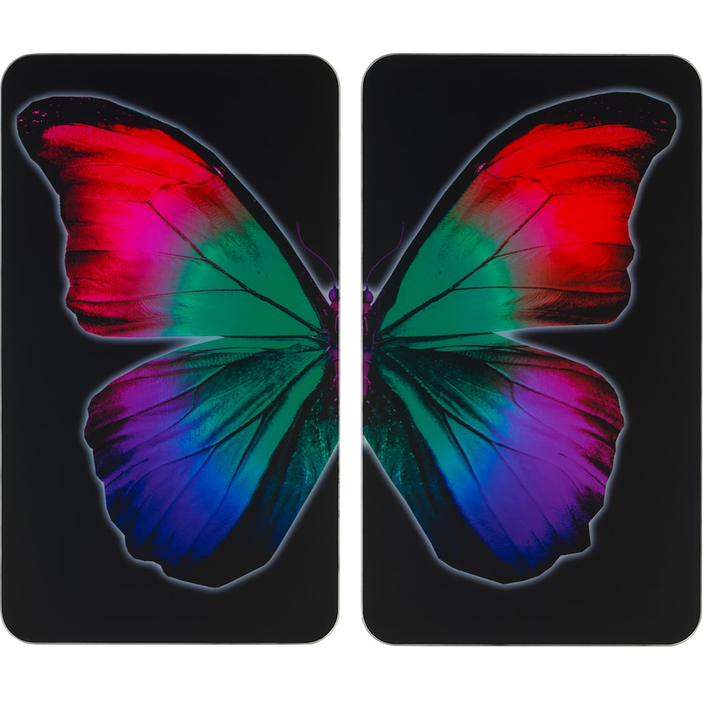WENKO Herd-Abdeckplatte »Universal Butterfly by Night«, (Set, 2 tlg.)