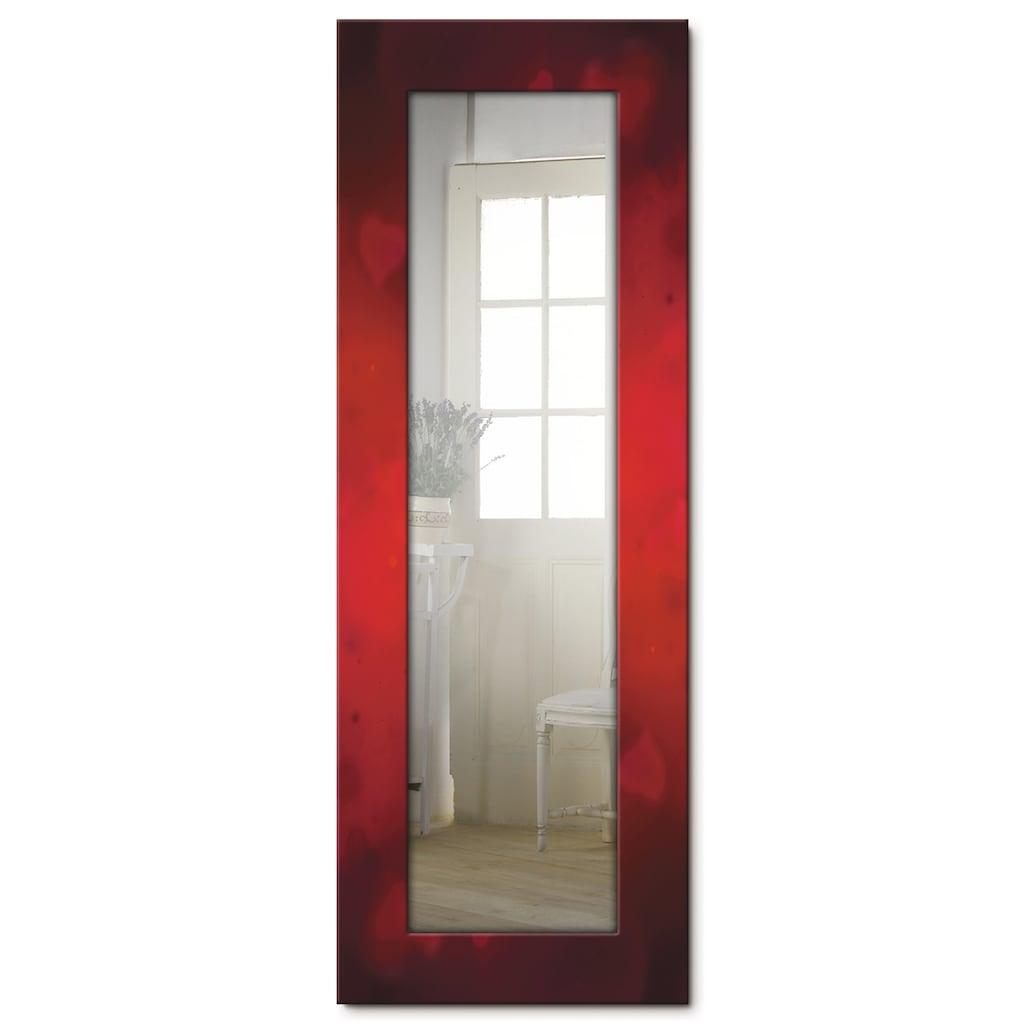 Artland Wandspiegel »Valentinseinladung mit Herzen und Rosen«, gerahmter Ganzkörperspiegel mit Motivrahmen, geeignet für kleinen, schmalen Flur, Flurspiegel, Mirror Spiegel gerahmt zum Aufhängen