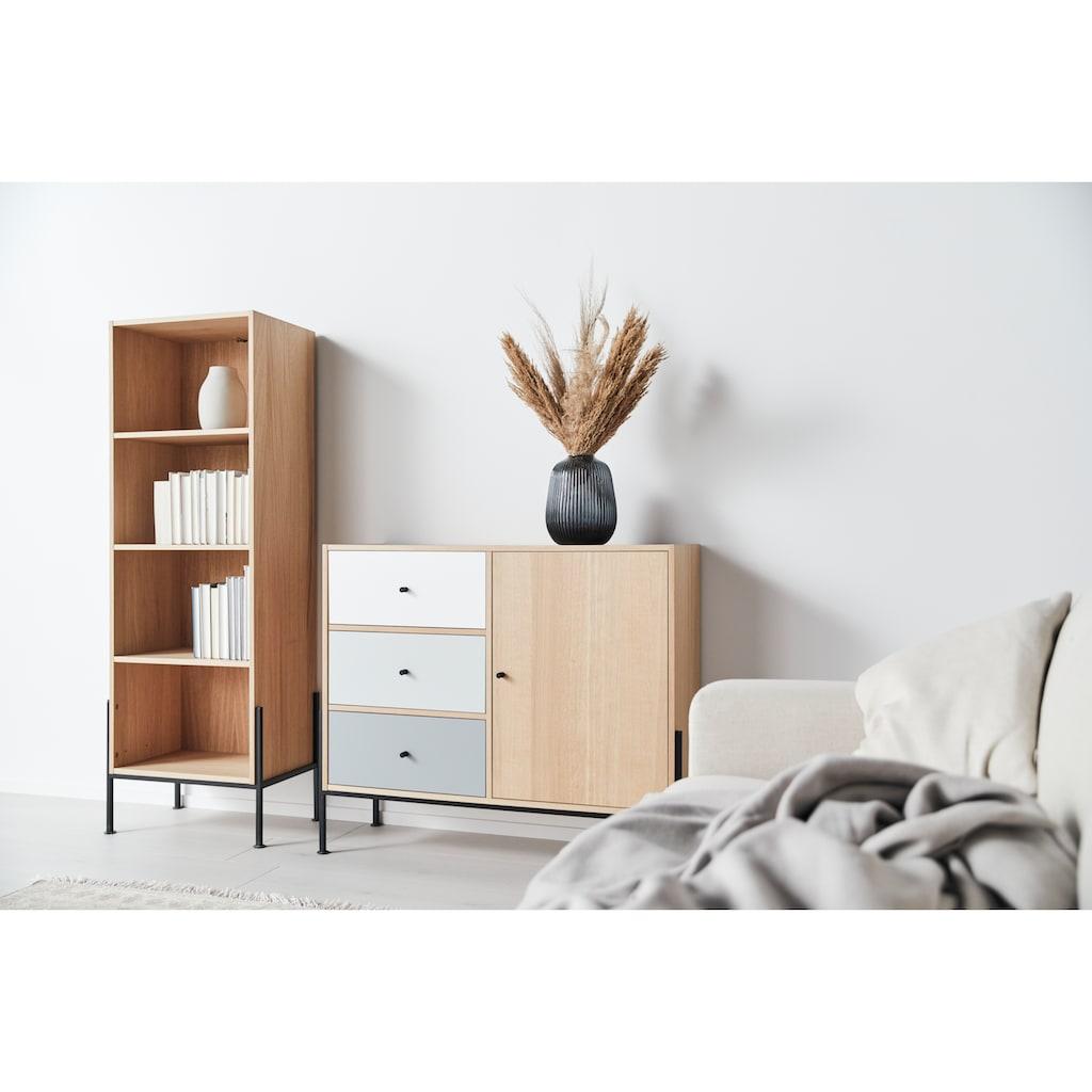 OTTO products Regal »Ellen«, aus furnierter Eiche, mit vier offenen Fächern, mit 4-Fuß-Gestell