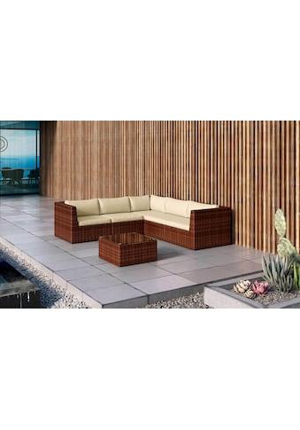 BAIDANI Loungeset »Surprise braun«, 17 - tlg., Ecksofa, Tisch 60x60 cm, Alu/Polyester kaufen