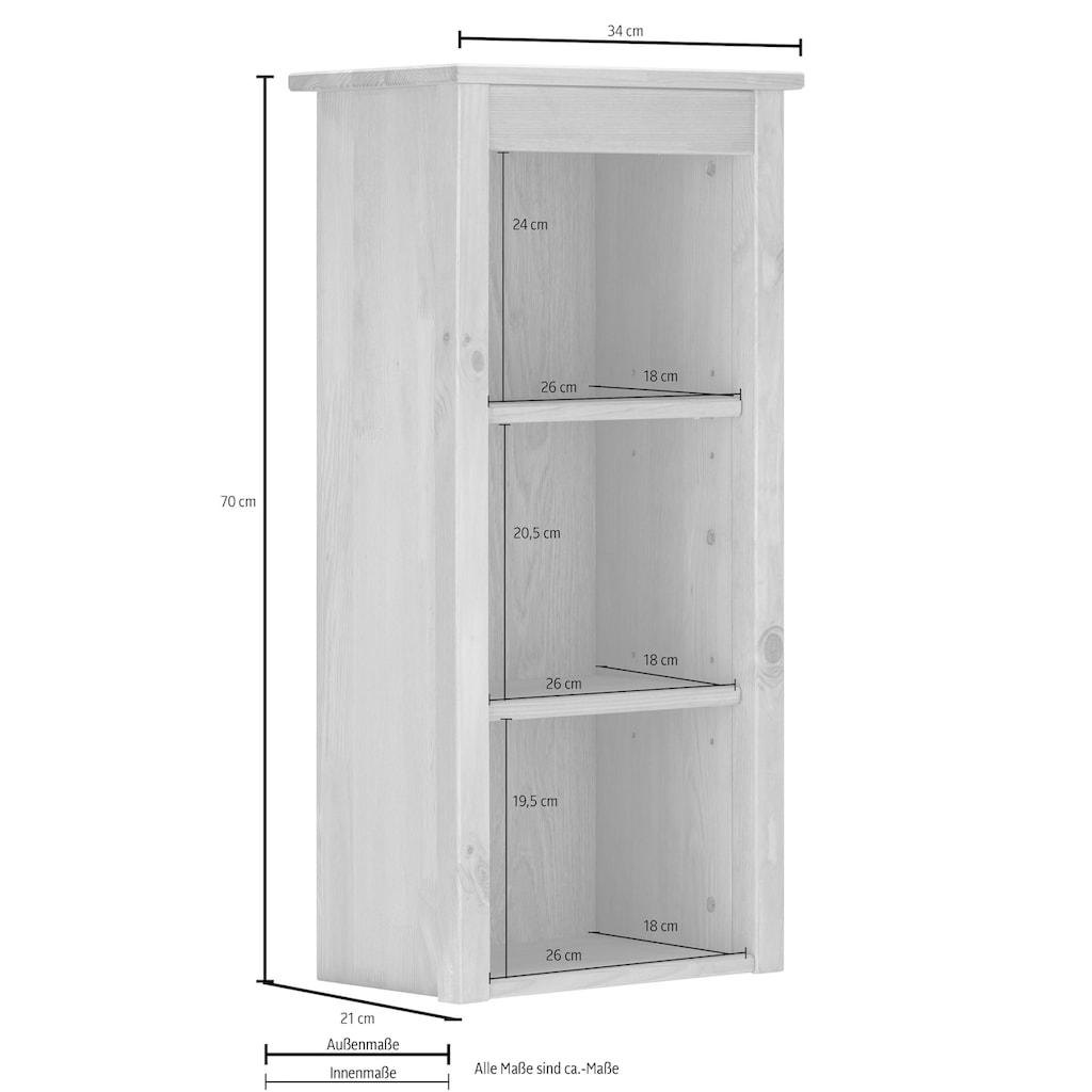 Home affaire Wandregal »Westa«, Breite 34 cm, Badezimmerschrank aus Massivholz, Kiefernholz, Metallgriffe, 3 offene Fächer, 2 Einlegeböden