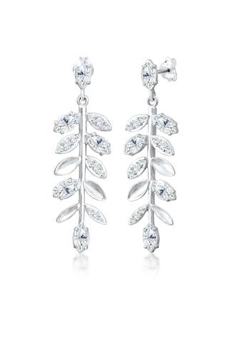 Elli Paar Ohrhänger »Hänger Blatt Kristalle 925er Silber« kaufen
