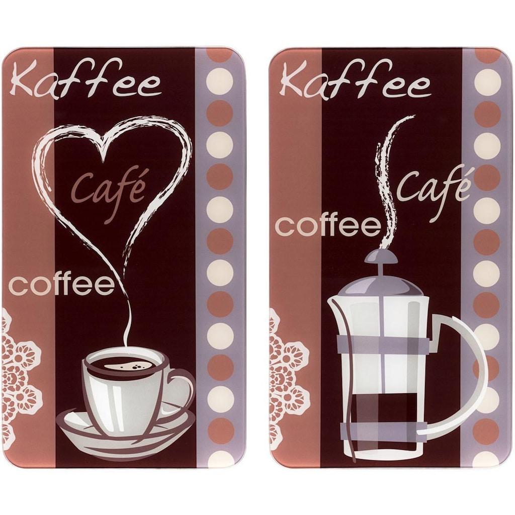 WENKO Herd-Abdeckplatte »Kaffeeduft«, (Set, 2 tlg.), Spezialfüße