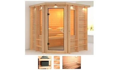 KARIBU Sauna »Cortona«, 224x210x206 cm, ohne Ofen, Dachkranz kaufen