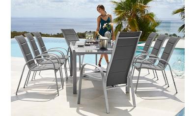 MERXX Gartenmöbelset »Amalfi Deluxe«, 9 - tlg., 8 Sessel, Ausziehtisch 180 - 250x100, Alu/Textil kaufen