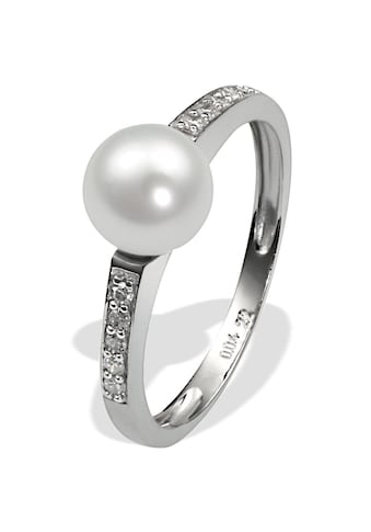 goldmaid Perlenring, 375/- Weißgold 1 Perle 10 Dia. 0,09 ct. kaufen