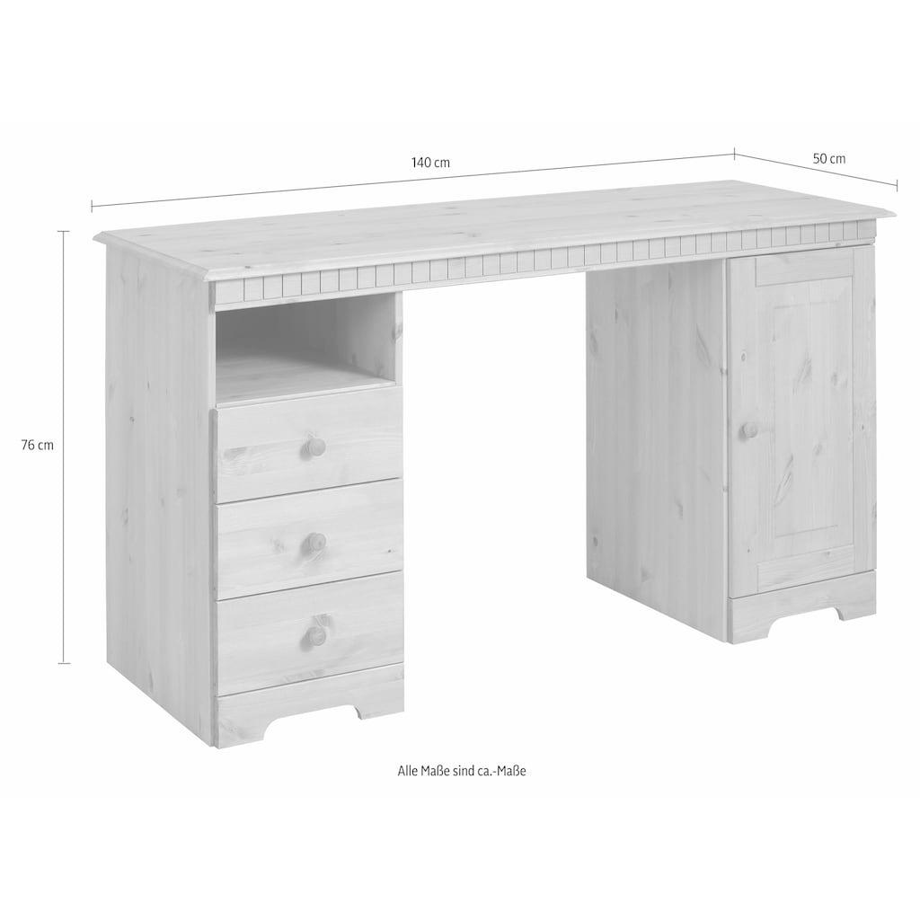 Home affaire Schreibtisch »Lisa«, aus Massivholz, in verschiedenen Farbvarianten, Breite 140 cm