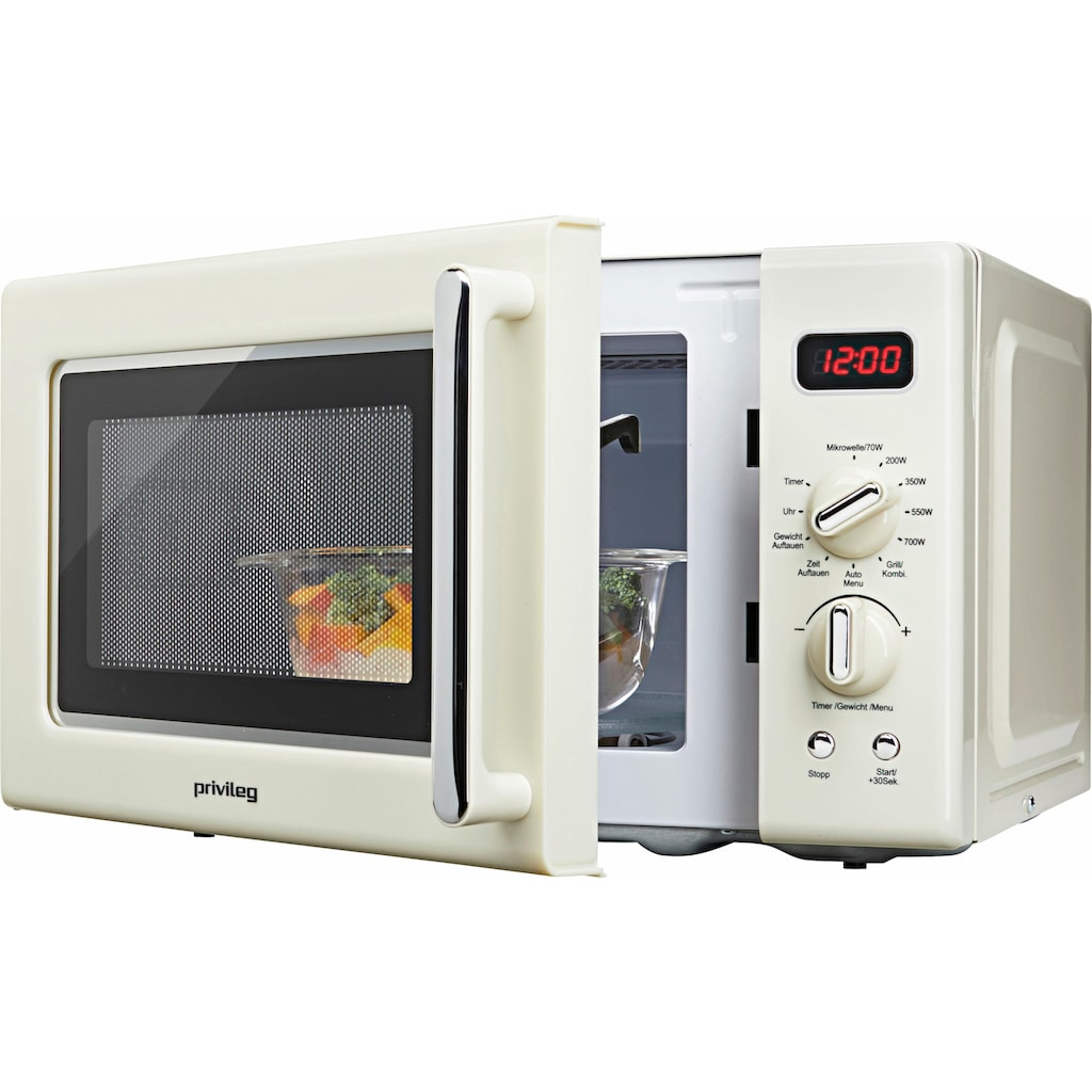 Privileg Mikrowelle »670559«, Grill, 700 W, im Retro-Design, 8 Automatikprogramme, beige