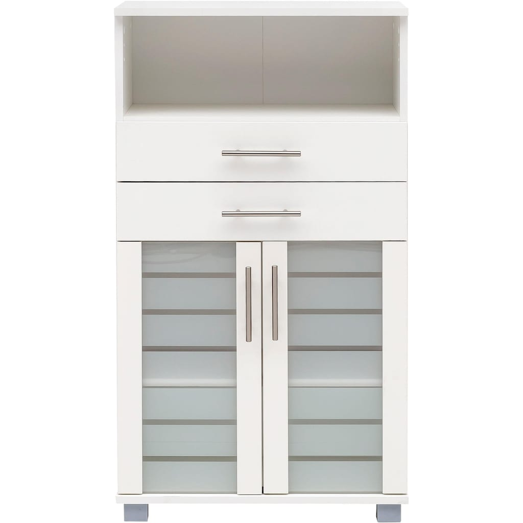 Schildmeyer Midischrank »Nikosia«, Breite 60 cm, mit Glastüren, 2 Schubladen, hochwertige MDF-Fronten, Metallgriffe