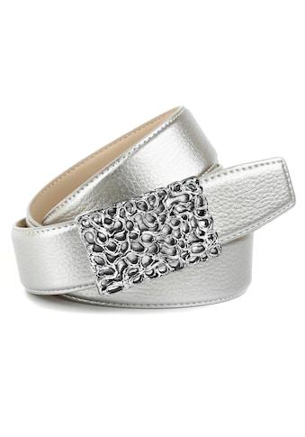 Anthoni Crown Ledergürtel, mit glänzender, filigraner, silberfarbener Schließe kaufen