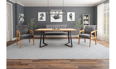 Essgruppe »Albona«, (Set, 4 tlg., bestehend aus Sitzbank, Tisch und 2 Armstühlen), Gestell aus Eiche Massivholz kaufen
