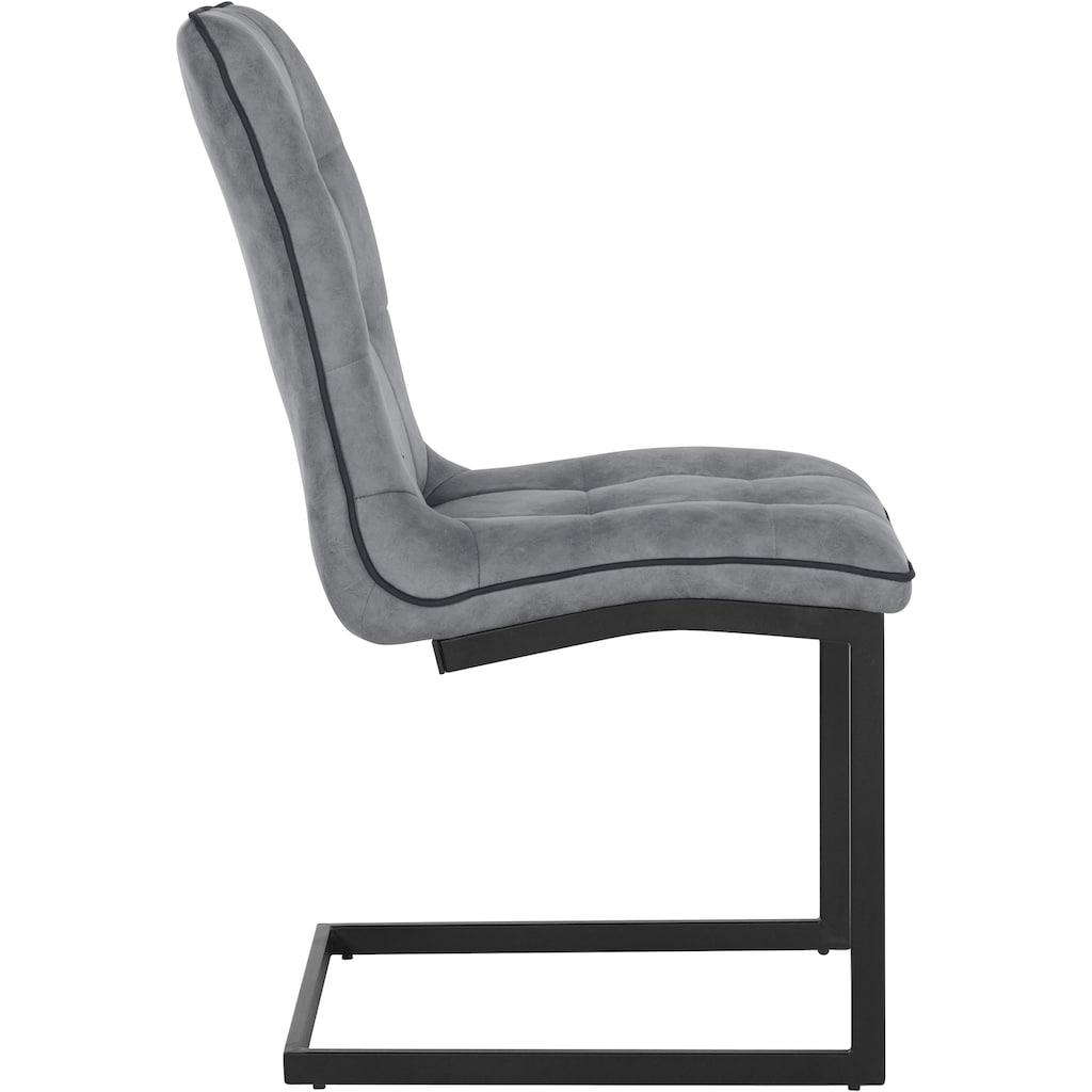 INOSIGN Esszimmerstuhl »Micah«, 2er Set, mit einem pflegeleichten Microfaser Bezug, Gestell aus Metall, Sitzhöhe 46,5 cm