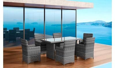 BAIDANI Gartenmöbelset »Essence grau«, 13 - tlg., 6 Stühle, Tisch 90x180 cm, Alu/Polyester kaufen
